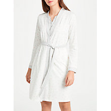 Buy John Lewis Skye Heart Print Jersey Robe, Ivory/Grey/Pink Online at johnlewis.com