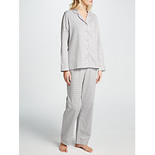 Buy John Lewis Sarah Gingham Check Pyjama Set, Grey/White Online at johnlewis.com