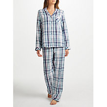 Buy John Lewis Irina Check Cotton Pyjama Set, Navy/Blue Online at johnlewis.com