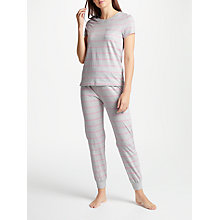 Buy John Lewis Julieta Stripe Short Sleeve Pyjama Set, Grey/Pink Online at johnlewis.com