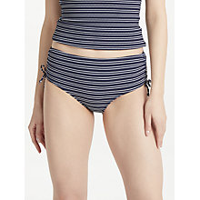 Buy John Lewis Valencia Textured Stripe Ruched Bikini Shorts, Navy Online at johnlewis.com