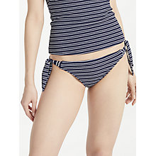 Buy John Lewis Valencia Textured Stripe Bunny Tie Bikini Briefs, Navy Online at johnlewis.com