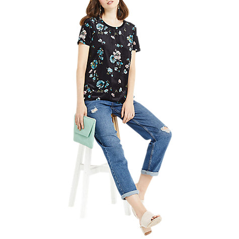Buy Oasis Printed Velvet Floral Top, Black/Multi Online at johnlewis.com