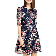 Buy Oasis Lace Printed Puff Sleeve Dress, Multi/Blue Online at johnlewis.com