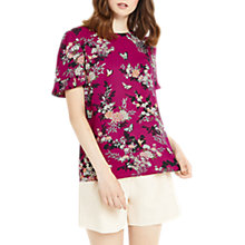Buy Oasis Kimono Pleat Sleeve T-Shirt, Berry Pink/Multi Online at johnlewis.com