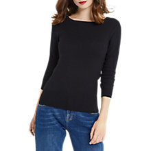 Buy Oasis Textured Knitted Round Neck Top, Black Online at johnlewis.com