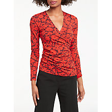 Buy Boden Long Sleeve Wrap Top, Post Box Red/Shadow Floral Online at johnlewis.com