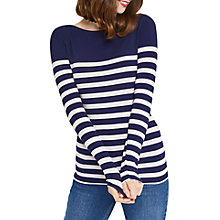 Buy Oasis Bretton Stripe Long Sleeve T-Shirt, Blue/White Online at johnlewis.com