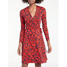 Buy Boden Wrap Jersey Dress, Post Box Red/Plum Shadow Online at johnlewis.com