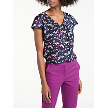 Buy Boden Ravello V-Neck Cap Sleeve Pattern Blouse, Navy Online at johnlewis.com