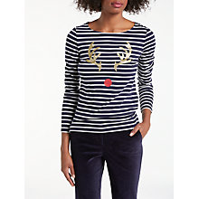 Buy Boden Christmas Reindeer Breton Top, Navy/Ivory Online at johnlewis.com