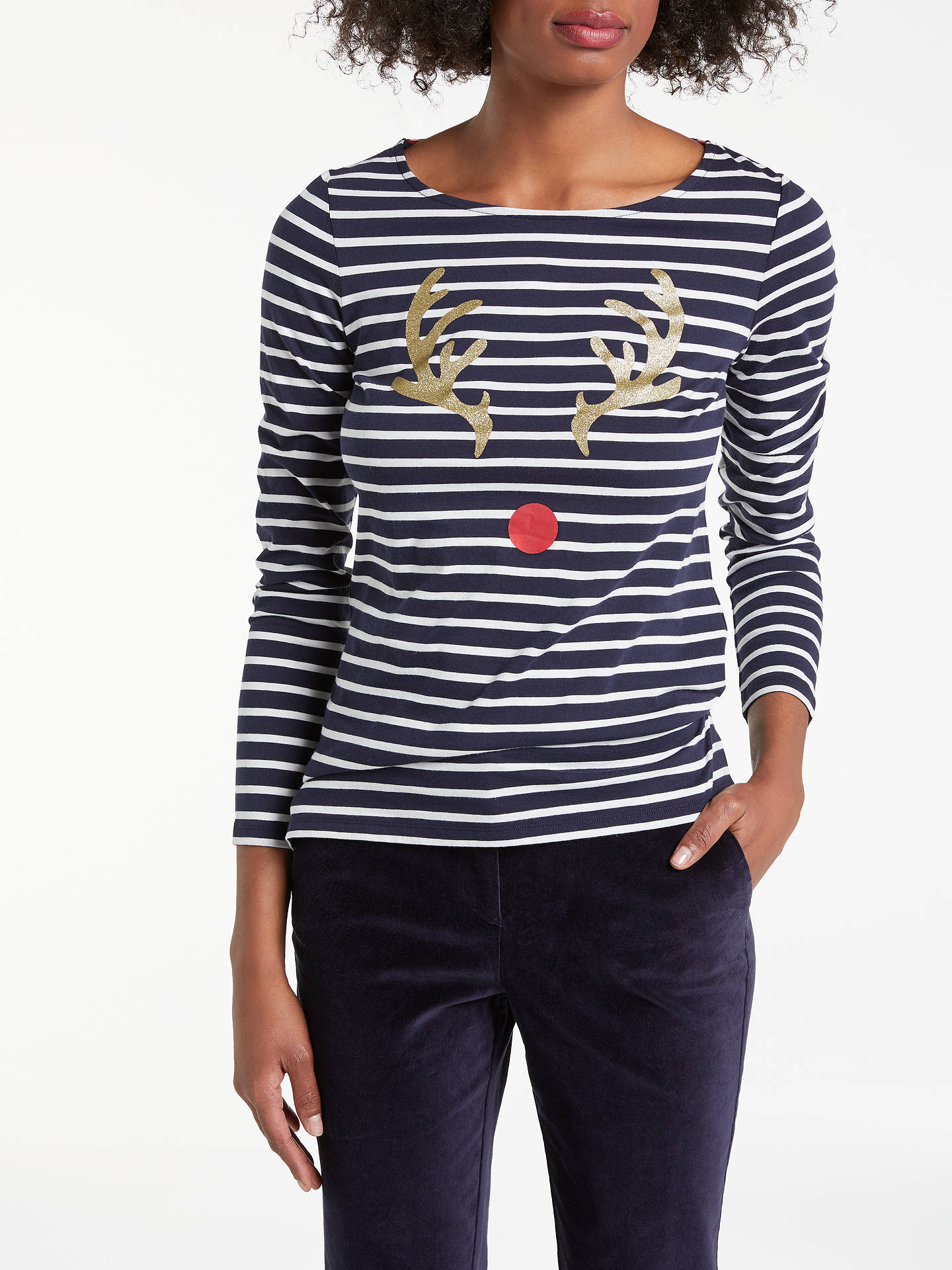 Buy Boden Christmas Reindeer Breton Top, Navy/Ivory, 12 Online at johnlewis.com