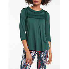 Buy Boden Jersey Ruffle Detail Round Neck Three Quarter Sleeve Top, Emerald Green Online at johnlewis.com