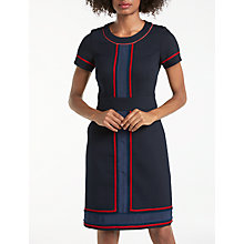 Buy Boden Edith Trim Detail Pencil Dress, Utility Navy/Postbox Red Online at johnlewis.com