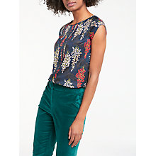 Buy Boden Vita Pleated Front Top, Ink Pot/Wisteria Online at johnlewis.com