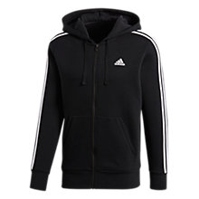 Buy Adidas Essentials 3-Stripes Hoodie, Black Online at johnlewis.com