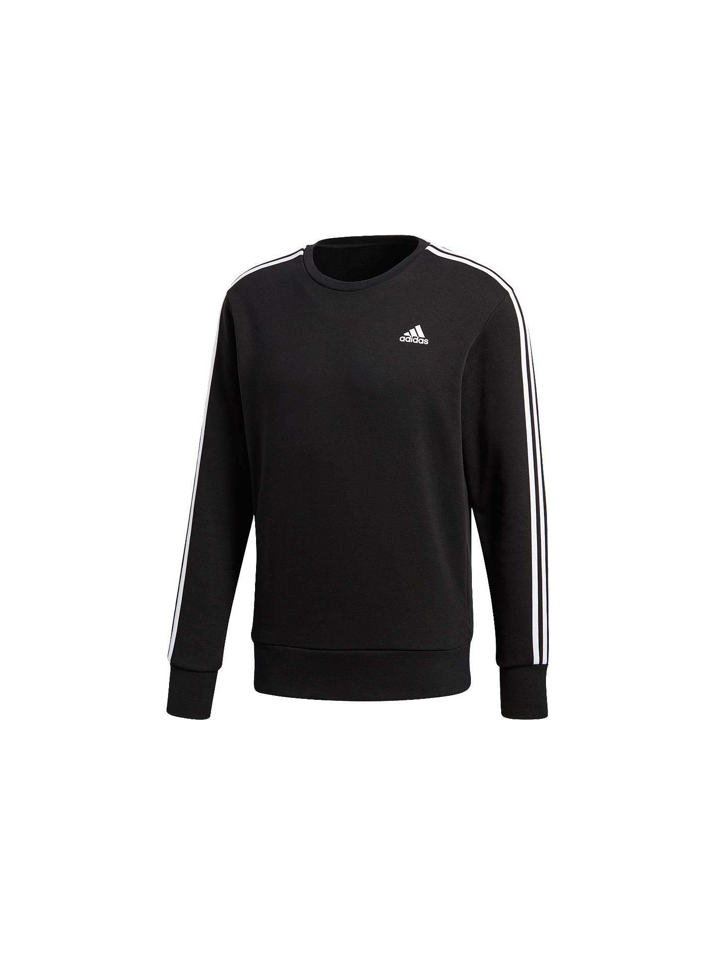 c70d8dcf3c6 Buy adidas Essentials 3-Stripes Crew Sweatshirt, Black, S Online at  johnlewis.