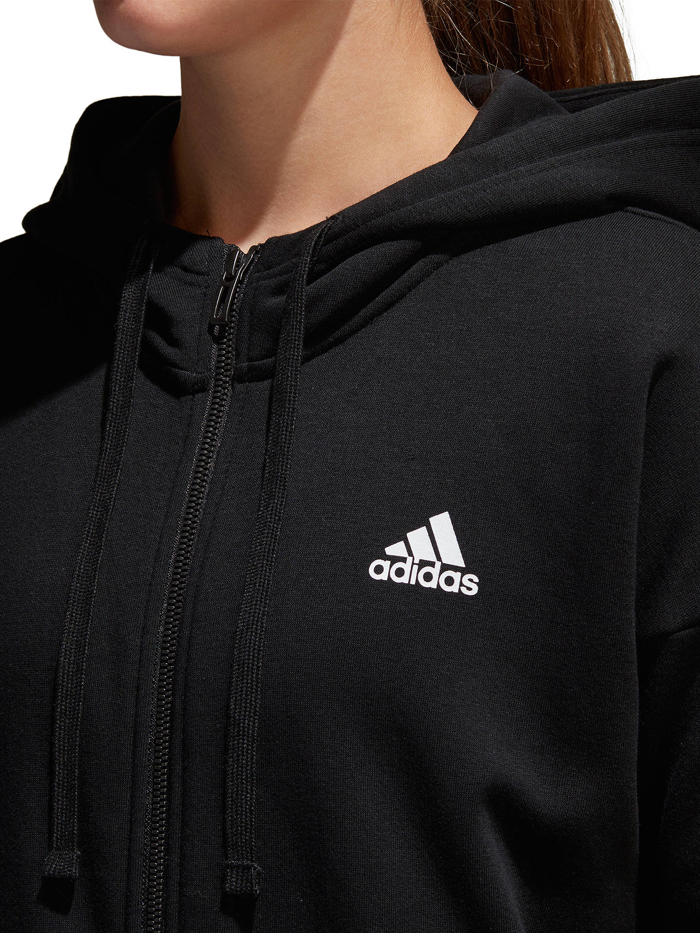 Buy adidas Essentials 3-Stripes Hoodie, Black, XS Online at johnlewis.com