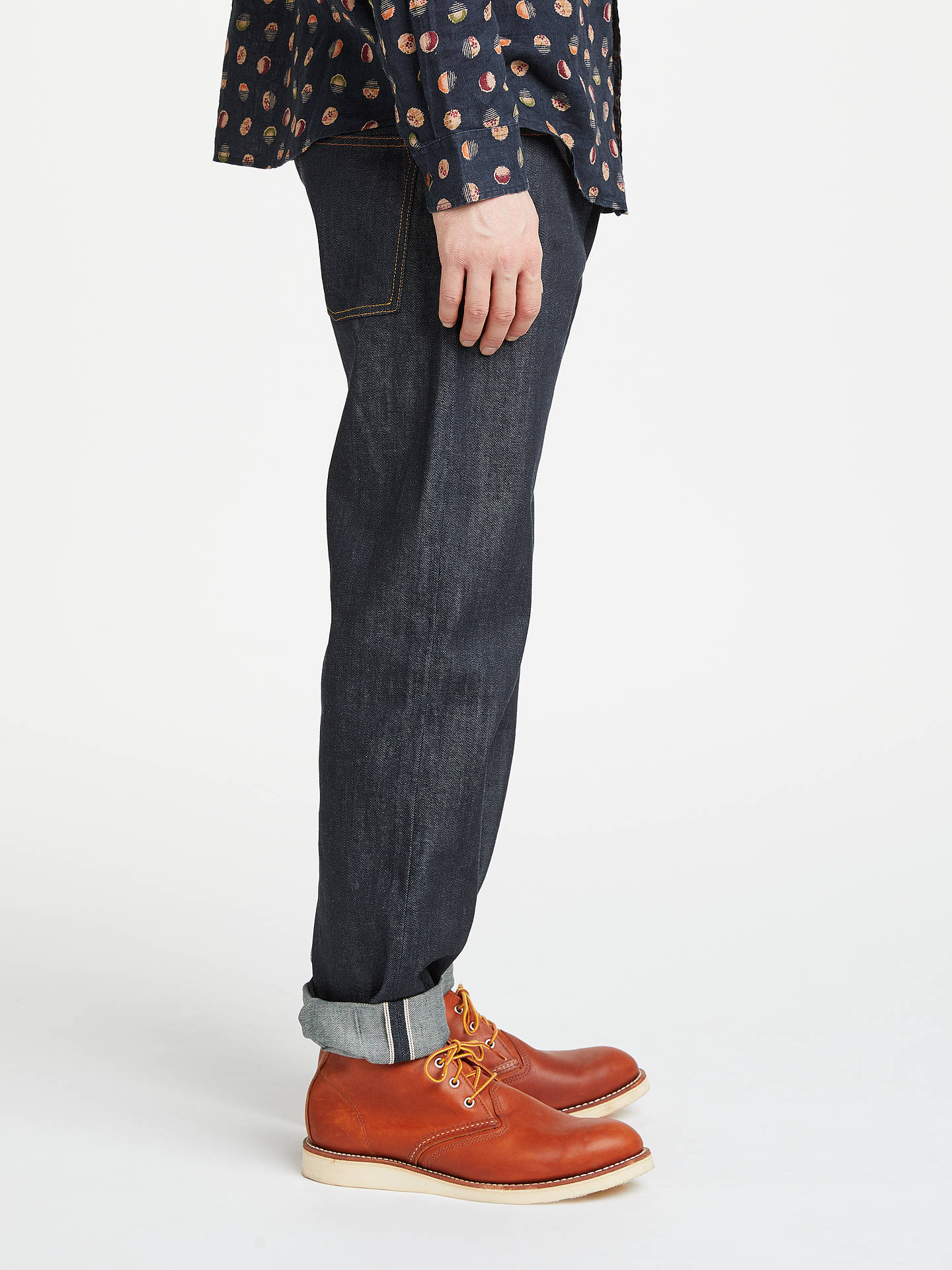 Buy JOHN LEWIS & Co. Unwashed Selvedge Denim Jeans, Blue, 38R Online at johnlewis.com