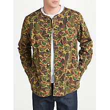 Buy JOHN LEWIS & Co. Collarless Camo Print Shirt, Khaki Online at johnlewis.com