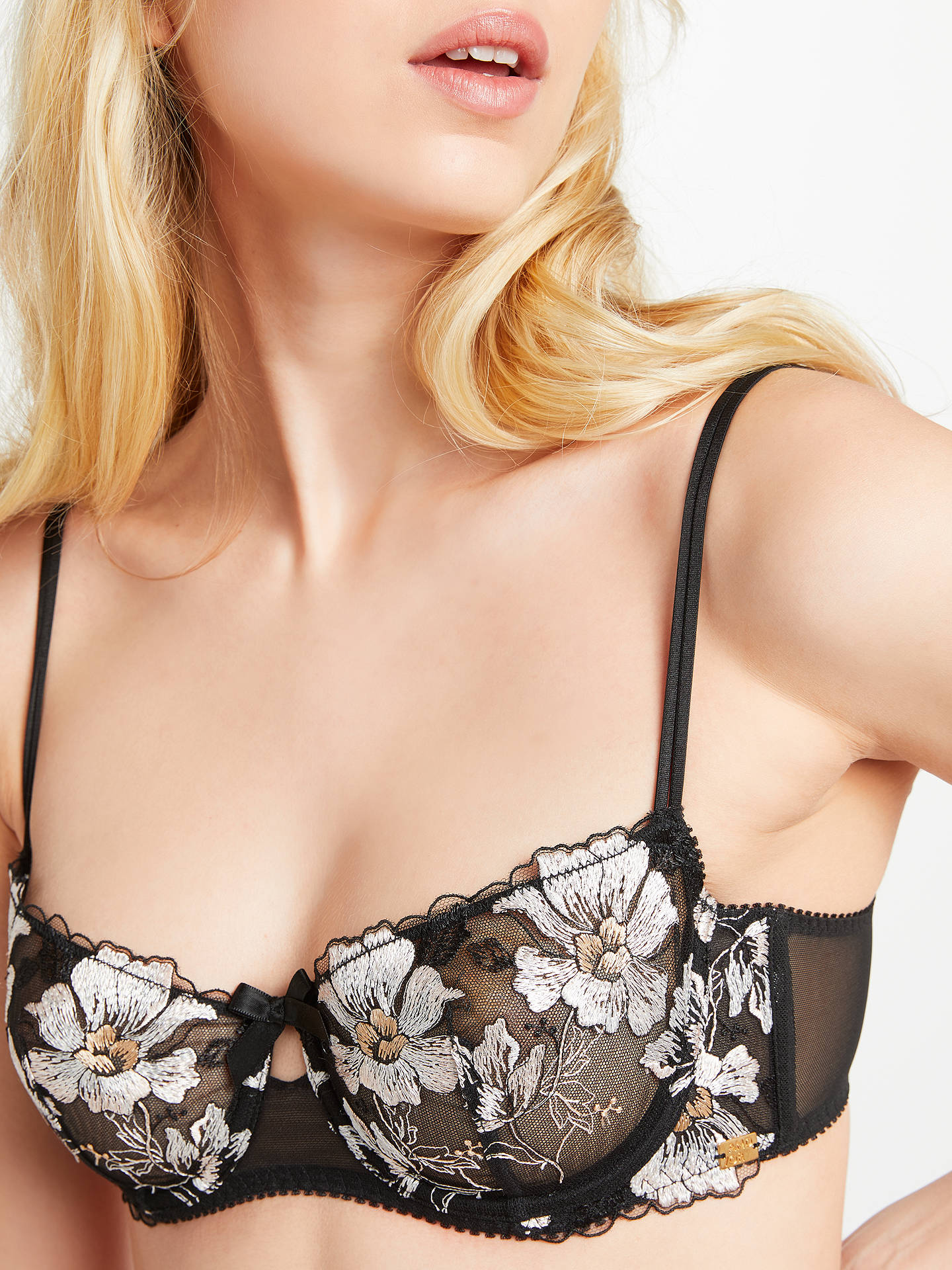 BuyAND/OR Harper Embroidered Demi Bra, Black/Multi, 32B Online at johnlewis.com