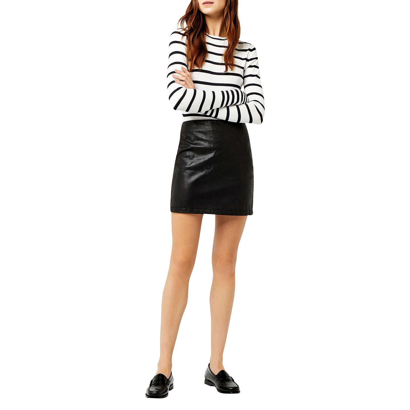 BuyWarehouse Faux Leather Mini Skirt, Black, 6 Online at johnlewis.com