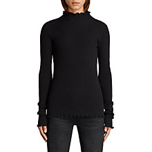 Buy AllSaints Eli Frill Top, Black Online at johnlewis.com
