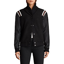 Buy AllSaints Bordin Wool Striped Jacket, Black/Bordeaux Online at johnlewis.com