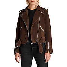 Buy AllSaints Suede Balfern Biker Jacket, Mahogany Brown Online at johnlewis.com