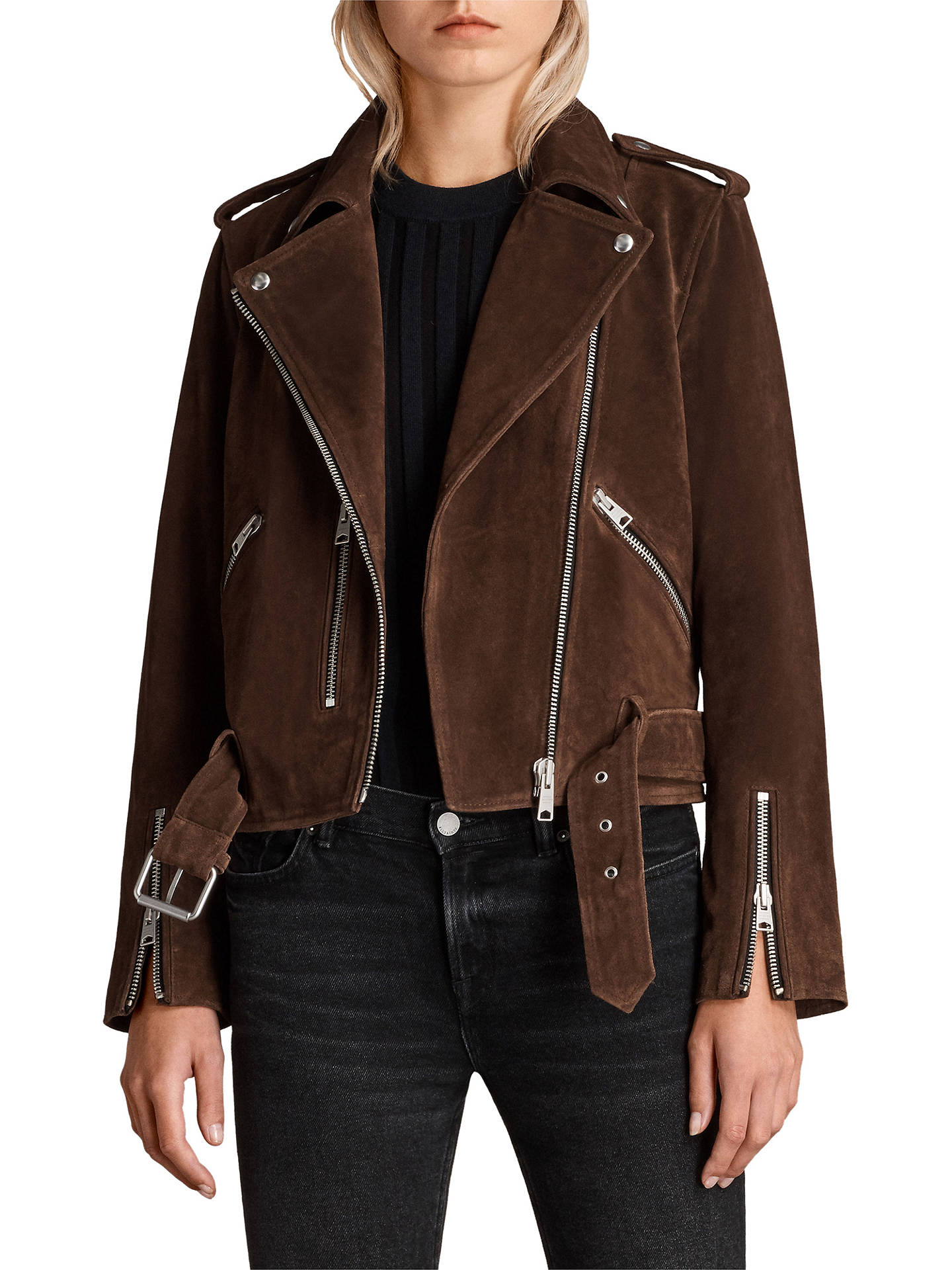 f07878a350e Buy AllSaints Suede Balfern Biker Jacket, Mahogany Brown, 6 Online at  johnlewis.com ...