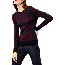 Buy Warehouse Bretton Block Stripe Jumper, Berry Online at johnlewis.com