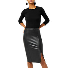 Buy Warehouse Faux Leather Pencil Skirt, Black Online at johnlewis.com