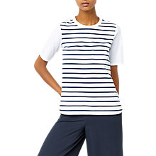 Buy Warehouse Cotton Back Striped Pocket T-Shirt Online at johnlewis.com