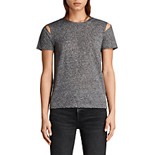 Buy AllSaints Dani T-Shirt, Charcoal Online at johnlewis.com