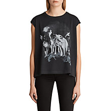 Buy AllSaints Brokita Wolves T-Shirt, Fadeout Black Online at johnlewis.com