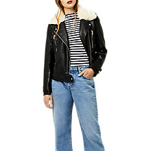 Buy Warehouse Fur Collar Faux Leather Biker Jacket, Black Online at johnlewis.com