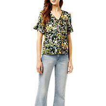 Buy Warehouse Painted Meadow Tie Top, Black Pattern Online at johnlewis.com