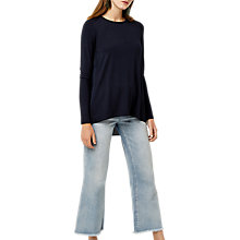 Buy Warehouse Pleat Back Woven Top, Navy Online at johnlewis.com