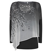 Buy Mint Velvet Rosae Print Layered T-Shirt, Black/Grey Online at johnlewis.com
