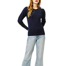 Buy Warehouse Long Puff Sleeve Jumper, Navy Online at johnlewis.com