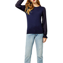 Buy Warehouse Textured Sleeve Jumper, Navy Online at johnlewis.com