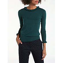 Buy Boden Bernadette Frill Detail Jumper, Deep Forest Online at johnlewis.com