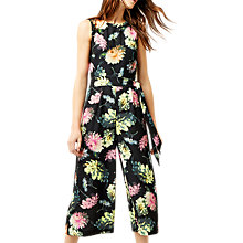 Buy Warehouse Decoupage Open Back Jumpsuit, Black Online at johnlewis.com