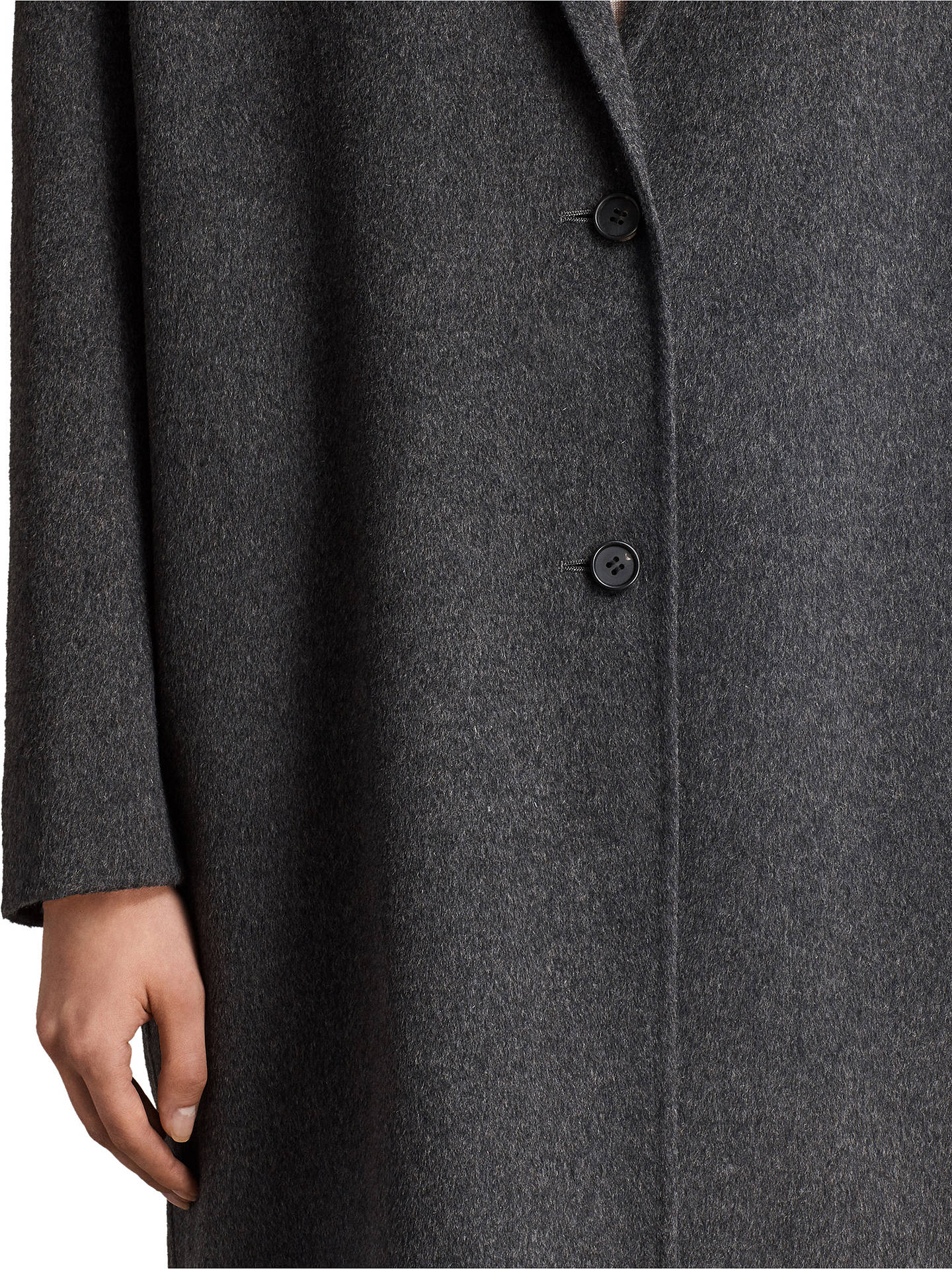 BuyAllSaints Anya Wool Blend Coat, Charcoal Grey, XS Online at johnlewis.com