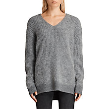 Buy AllSaints Ade V-Neck Jumper, Grey Marl Online at johnlewis.com