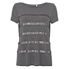 Buy Mint Velvet Sequin Stripe Short Sleeve T-Shirt, Grey Online at johnlewis.com