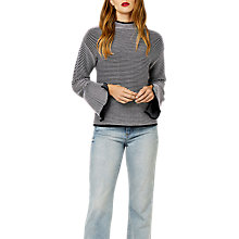 Buy Warehouse Striped Ottoman Ribbed Jumper, Navy Online at johnlewis.com