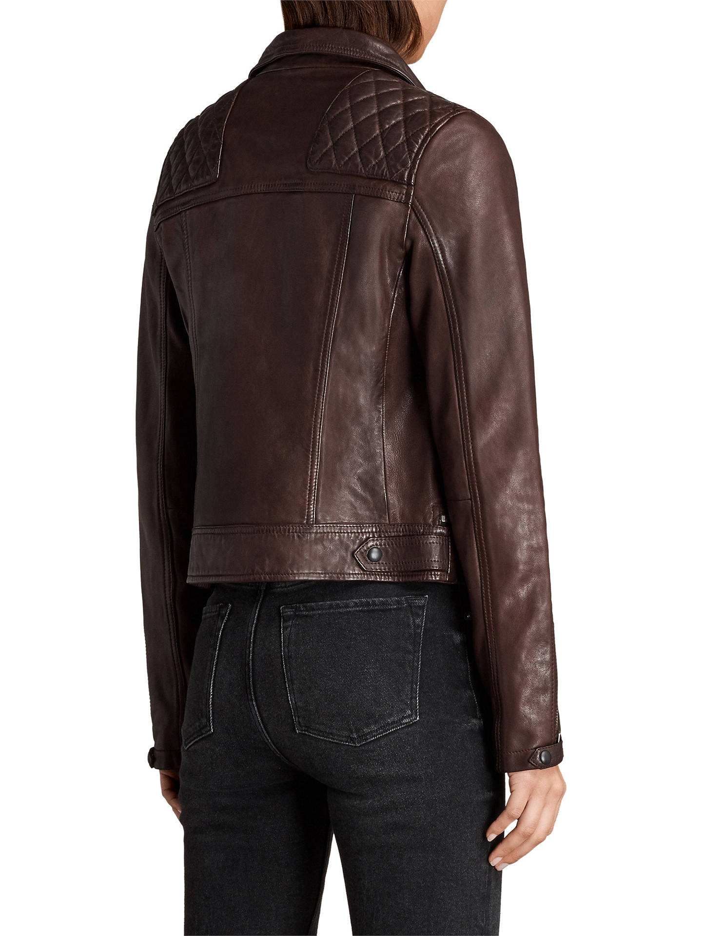 90df1b84f AllSaints Conroy Leather Biker Jacket, Oxblood Red at John Lewis ...
