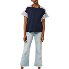 Buy Warehouse Cotton Flute Poplin T-Shirt, Navy Online at johnlewis.com