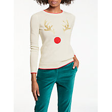 Buy Boden Embroidered Antlers Christmas Jumper, Ivory/Multi Online at johnlewis.com